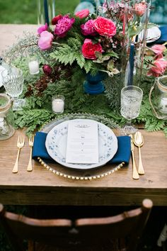 elegant place setting - photo by Emily Wren http://ruffledblog.com/woodland-romance-wedding-inspiration