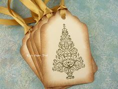 Vintage Inspired Christmas Gift Tags  Christmas by KatsPaperTrail, $6.95