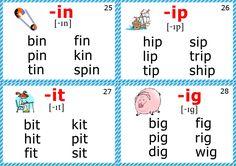 phonics flashcards short i sound
