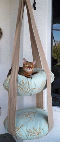 Your Kitty Needs This 2 Tier Hanging Cat Bed With Linen Type Straps And An  Aqua U0026 Tan Coral Print Pillow Covers, There Is Also A Linen Catnip/toy