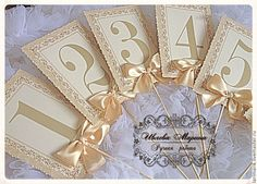 Купить Карточки рассадочные на палочке - бежевый, карточки для рассадки, карточки на столы, карточки для гостей