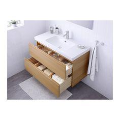 GODMORGON / ODENSVIK Meuble lavabo 2tir - effet chêne blanchi - IKEA