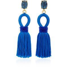 Oscar de la Renta Silk Tassel Earrings ($390) ❤ liked on Polyvore featuring jewelry, earrings, blue, blue tassel earrings, silk jewelry, statement earrings, tassle earrings and tassel jewelry