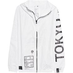 UEG Tokyo White // Outdoor jacket with print ($220) ❤ liked on Polyvore featuring men's fashion, men's clothing, men's outerwear, men's jackets, clothing - jackets, outerwear, mens lightweight jacket, mens slim jacket, mens water resistant jacket and mens short sleeve jacket