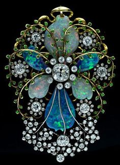 Fabulous Art Nouveau Opal, Black Opal, Rare Demantoid Garnets and Diamond Pin Set in Gold & Platinum.