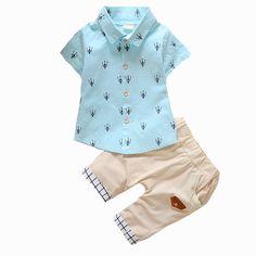 2016 Nova Moda Roupa Dos Miúdos Meninos Verão Definir Camisa Impressão + Calças…