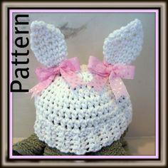 Crochet PATTERN for Bunny Ears Beanie in PDF Format - Instructions for Newborn thru Pre-Schooler - number 109 Crochet Cap, Crochet Hook Sizes, Cute Crochet, Crochet For Kids, Crochet Hooks, Crochet Baby Clothes, Crochet Baby Hats, Baby Knitting, Crocheted Hats