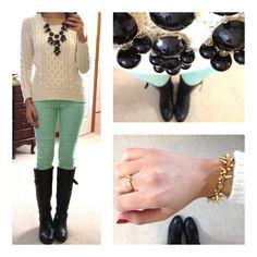 JCP wool sweater, F21 mint skinnies, F21 riding boots, bubble necklace via eBay,Renegade bracelet c/o Erika Lehman for Stella & Dot