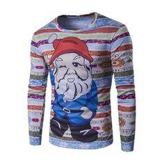 Long Sleeve 3D Father Christmas Cartoon Print T-Shirt