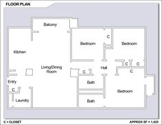 CFA Yokosuka – High Rise: 3 bedroom apartment floor plan.