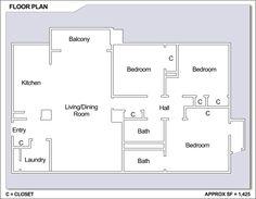 CFA Yokosuka – High Rise: 3 bedroom apartment floor plan.