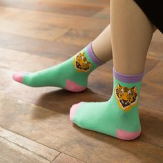 autumn and winter socks candy color block decoration paragraph of the trend of the tiger logo