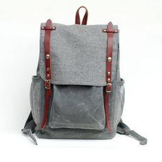Grey wool & waxed canvas rucksack...