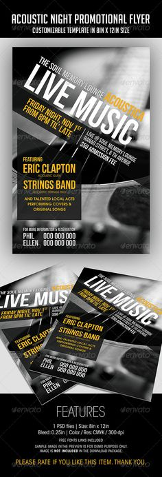 Acoustic Night Promotional Flyer  #GraphicRiver         ACOUSTIC NIGHT PROMOTIONAL FLYER  FEATURES  1 PSD file    • PSD Layers are well organized, grouped, and appropriately named  Size: 8in x 12in (Portrait) Bleed: 0.25in Color: CMYK / 300 dpi   Fonts  Bebas Neue  TeX-Gyre-Adventor   *A text file listing the link of free font is included *Sample picture in the preview is for DEMO purpose only, and NOT INCLUDED in the download package.  - Photo Credit:   — .flickr…