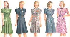 1940s Fashion Advice for Short Women. 1941 day dresses in small prints, high collars, and vertical pleating. These dresses are youthful without looking too junior.  http://www.vintagedancer.com/1940s/1940s-petite-short-women/  #1940s fashion