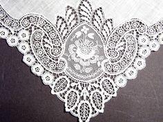 Stunning Handmade Antique Lace Wedding Handkerchief