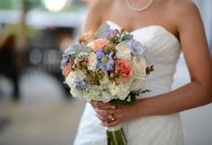 White, Coral & Lilac Bouquet