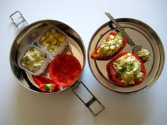 Stuffed Tomatoes and Peppers with Creamy Tofu, Fresh Corn, and Hemp Seeds