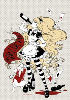 Poster Drinke me Alice in Wonderland by BlackUnicornShop on Etsy, €9.00