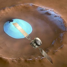 Mars Express over water-ice crater #Nature