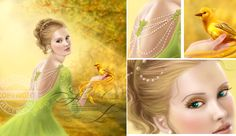 Beautiful romantic woman and fantasy gold bird  Beautiful romantic woman and fantasy gold bird . .Illustration . abstract, animal, art, autumn, background, beautiful, beauty, bird, creative, design, element, face, fashion, female, floral, girl, glamour, gold, golden, graphic, grass, green, hair, happy, illustration, jewelry, mythology, nature, outdoors, park, person, phoenix, portrait, pretty, skin, summer, white, wing, women, yellow, young