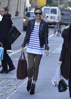 This effortless mix of edgy leather and preppy stripes provides a cool contrast on an everyday look.