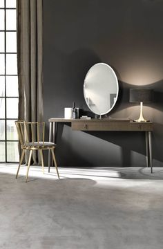 dressing table with framework made of open pore-texture oak veneered multilayer-wood. Brush-patination in contrasting tones, hand-made decoration. Cold-proces