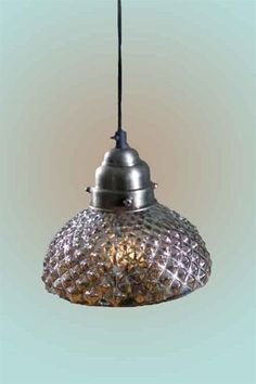 Antiqued Mercury Glass Bell Hobnail Pendant