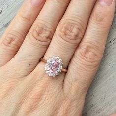 Champagne Pink Sapphire Engagement Ring Diamond by LaMoreDesign