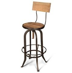 Alvar Industrial Loft Reclaimed Oak Iron Vintage Bar Stool