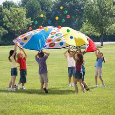 ALEX Toys Active Play Giant Parachute Party. Ball bouncing airborne action. Great for parties, picnics and group activities. Dr. Toy's Best Play & Learn Vacation Products award winner. Includes a 10ft. diameter parachute with 12 handles, 16 plastic balls and a clear vinyl tote bag. Recommended for children 3 years of age and older.