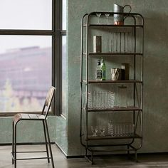Decorate your dining room or living room with this versatile INK+IVY Renu industrial bookshelf. Industrial Bookshelf, Industrial Furniture, Industrial Metal, Rustic Bookcase, Industrial Chic Decor, Modern Bookshelf, French Industrial, Repurposed Furniture, Industrial Design