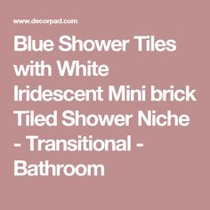 Blue Shower Tiles with White Iridescent Mini brick Tiled Shower Niche - Transitional - Bathroom