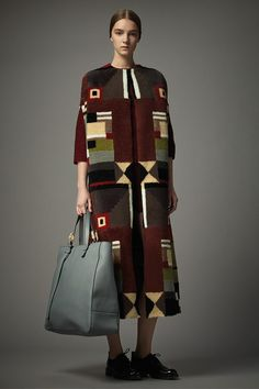 Thick coat | Long | Graphic carpet pattern | Brown | Bauhaus | Valentino Pre A/W 14/15