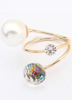 Gold Tone Faux Mother of Pearl Wrap Ring by Emi