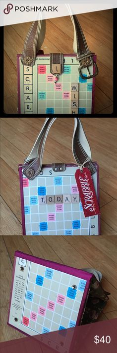 Handbag Made from a vintage Scrabble game board and other recycled materials. Bags