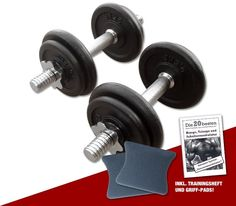 Guss Kurzhantel - Set 2 x 10 kg inklusive Griff-Pads und Übungsanleitung  #hantelset #hantel #lkurzhantelsetl #workout #vorteilsangebot #sparangebot #hanteltraining #fitness #training