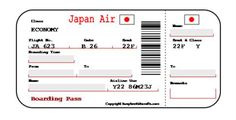 Children's Fake Japan Boarding Pass