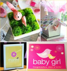 Baby girl and boy printables.... bird baby shower