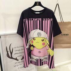 Pokemon Gangster Pikachu Print loose long T-shirt dress