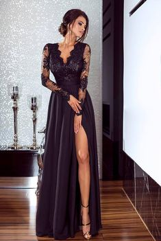 Long Sleeve Lace Elegant Prom Dress,Long Prom Dresses,Prom Dresses,Evening Dress, Evening Dresses,Prom Gowns, Formal Women Dress