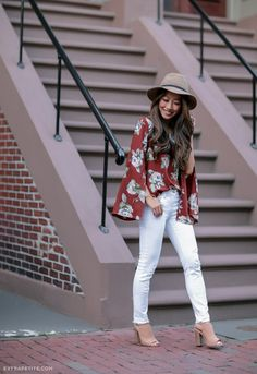 Floral bell sleeve top + white jeans + camel hat + open toe booties