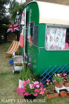 Sweet vintage caravan en lieu of a garden shed - what a coole idea, the interior is fab as well - Happy loves Rosie