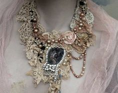 RESERVED for JOANNE shabby chic soft  braided necklace from