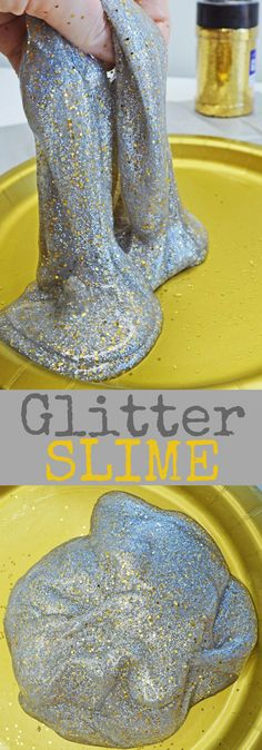 This is an easy slime recipe for kids. This Silver and Gold Glitter Slime is fun to play with and perfect slime for parties or New Years. #slime #glitterslime