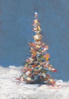 Christmas Tree Aglow Oil Painting