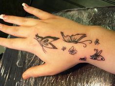 Black Butterfly Tattoo for Stylish Girls Hand