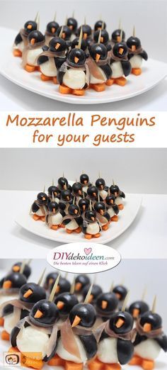 Ingredients for one penguin:                  2 pitted black olives   1 small mozzarella ball   carrot   toothpick   ham or bacon       Preparation: Carefully cut inside one of the olives. Don't cut it in half, because the mozzarella will go into this, and this will be the wings