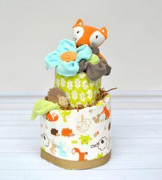 Woodland Diaper Cake, Woodland Baby Shower Decoration, Unique Baby Gift, Baby Diaper Cake, Fox, Hedgehog, Squirrel, Woodland Animals by babyblossomco on Etsy https://www.etsy.com/listing/239291802/woodland-diaper-cake-woodland-baby