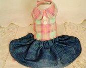 Handmade Pink Plaid Flannel Harness Dress with Denim Skirt XXSmall